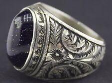 Men's sterling silver ring, natural goldstone blue gemstone, steel pen crafts