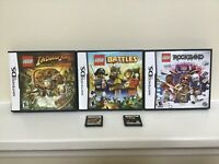 Nintendo DS Games Lot Of 5, Lego Star Wars, Lego Indiana Jones, Rockband, Battle