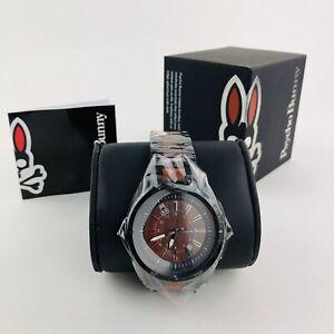 Psycho Bunny Men's Stainless Steel & Wood Bracelet Wood Dial Quartz Watch