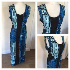 Hi by HENRY HOLLAND Black Blue Panelled Abstract Print Long Maxi Dress. UK 12 E1