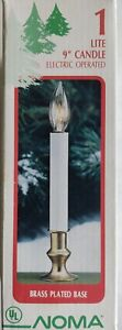 """1 Lite 9"""" Candle Electric Operated Brass Plated Base Noma 5' Cord Lamp Included"""