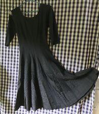 Vtg Very Well Home Sewn Dress Black Light Wool & Crepe 3/4 Sleeve