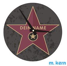 Wanduhr Walk of Fame Uhr Glas 20 cm mit Name Hollywood Stern personalisiert