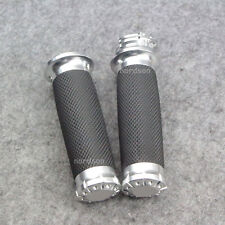 "1"" 25mm CNC Edge Cut Handlebar Hand grips For Harley Sportster Cruiser Chrome"