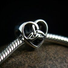 Genuine 925 Sterling silver charm celtic triquetra trinity heart fits bracelet