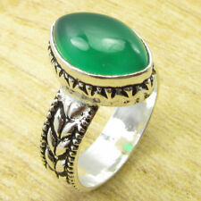 Exclusive Green Onyx FASHIONABLE Ring Size O ½ ! Silver Plated Jewelry BRAND NEW