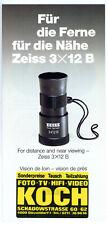 CARL ZEISS Fernglas Prospekt 3x12 B MINI Broschüre von 1988 Reklame (Y463
