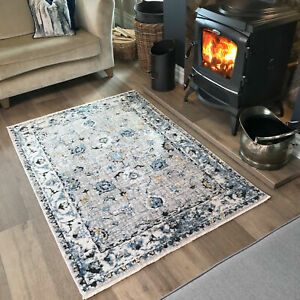 Blue Grey Traditional Rug Distressed Boho Transitional Bordered Living Room Rugs