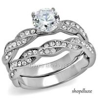 2.75 CT ROUND CUT AAA CZ STAINLESS STEEL WEDDING RING SET WOMEN'S SIZE 5-10