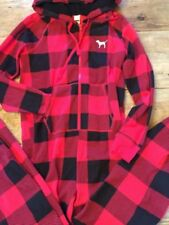 Victoria Secret PINK Hooded Sherpa Long Jane one piece jumpsuit Red Plaid ski