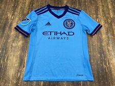 New York City FC MLS Soccer Light Blue Adidas Jersey - Youth Small