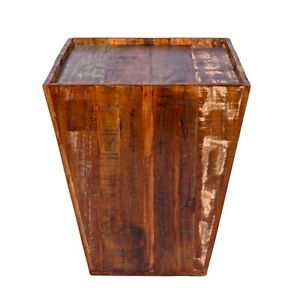 Rustic Reclaimed cone shaped 18 inch Square Side table   Accent Table   End Tabl