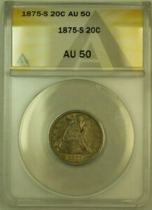 1875-S Twenty Cent Piece 20c ANACS AU-50 (Undergraded) Well Struck Type Coin