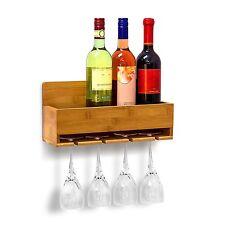 Estanteria de Pared para Botellas de Vino y sus Copas Hecho de Bambú Resistente