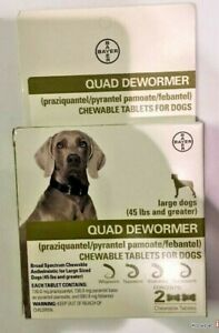 NEW IN BOX QUAD DEWORMER LARGE DOGS 2 TABLETS EXPIRES 10/21