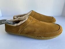 George Men's Leather Slippers Shoes Size 9-10 Tan Rubber Sole Fur Lining