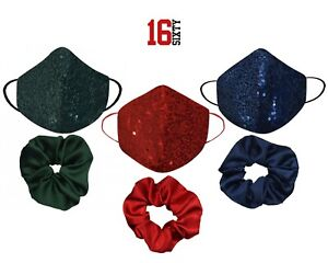 Women Men Sequin Face Mask Sparkly Glitter Reusable Washable Mouth Bling Cover