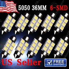 10Pcs White 36MM Festoon Dome Map Interior LED Light bulbs 5050 6SMD DE3423 6418