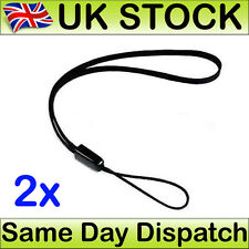 Hand Wrist Strap Lanyard For MP3 MP4 Camera Mobile Phone USB Black 15cm x 2