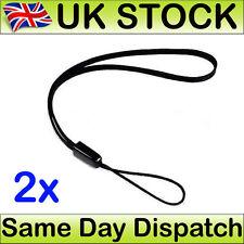 2 x Hand Wrist Strap Lanyard For MP3 MP4 Camera Mobile Phone USB Black 15 cm