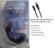 MONSTER CAM TO PC FIREWIRE CABLE 4-PIN TO 6-PIN, 2M-6FT