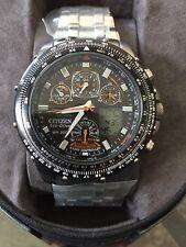 NEW Citizen Skyhawk A-T JY0000-53E Stainless Steel Chronograph Atomic Mens Watch