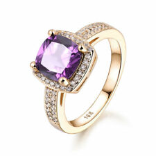 Square Amethyst Clear Sapphire Yellow Gold Filled Women Lady Wedding Party Rings