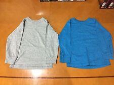 Lot of 2 Boys Kids Fruit of Loom Blue & Gray Solid Long Sleeve Shirts Sz XS 4-5