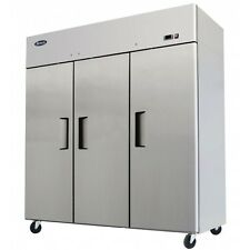 ATOSA MBF8006 TOP MOUNT THREE (3) DOOR REFRIGERATOR STAINLESS STEEL W/CASTERS