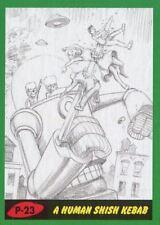 Mars Attacks The Revenge Green Pencil Art Base Card P-23 A Human Shish Kebab