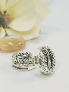 DAVID YURMAN Stax Huggie Hoop Earrings with Dia EXCELLENT PRE-OWNED CONDITION!!