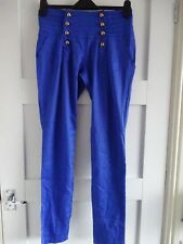 **BNWT**FUNKY BLUE TROUSERS WITH BRASS BUTTON DETAIL**SIZE L**