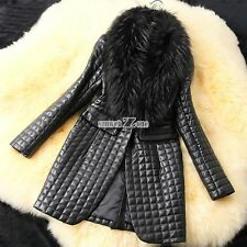 Women's Faux Raccoon Jacket Fur Collar Coat Fashion Short Leather Outerwear New