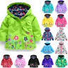 Baby Girls Kids Hooded Long Trench Rain Coat Jacket Flower Windproof Outwear US
