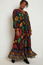 New Anthropologie Farm Rio Georgette Maxi Dress black size XL $228 NWT