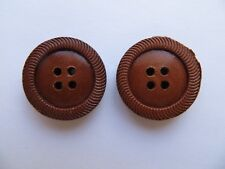 1950s Vintage Med Natural Leather 'PARIS' Lt Brown Coat Jacket Buttons-22mm