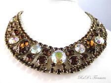 Vintage JULIANA D&E Topaz & AB Headlight Rhinestone Collar Necklace Choker