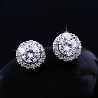 14K REAL WHITE GOLD FILLED STUD EARRINGS MADE WITH 0.6 CARAT  SWAROVSKI CRYSTALS