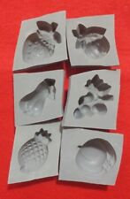 6 piece FRUITS and VEGETABLES Candy Cream Cheese Mint Grey Rubber Molds