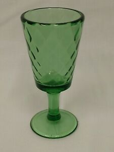 LG Wright DIAMOND QUILTED Optic Green Lattice Art Glass Mid Century WINE GOBLET