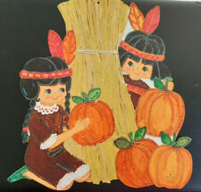 Vintage Hallmark Autumn Fall Thanksgiving Indians pumpkins Die-Cut Decoration