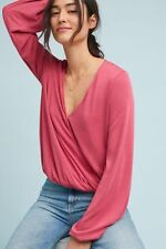 NWT Anthropologie Allecra Wrap Top Pink Blouse Size L