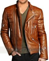 Mens Biker Vintage Distressed Brown Slimfit Cafe Racer Motorcycle Leather Jacket