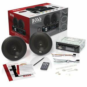 BOSS Audio Car Stereo Speaker System Players Single Din, Bluetooth - Kit Set