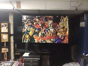 HUGE 44x31 Magic Johnson Larry Bird vinyl Banner poster man cave Boston Celtics