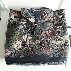 SIGNARE Morris Strawberry thief Bird Tapestry Small Rucksack Backpack Travel Bag