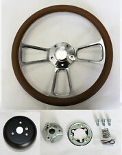 "60-69 Chevy Pick Up Truck C10 Steering Wheel Tan and Billet 14"" Shallow Dish"