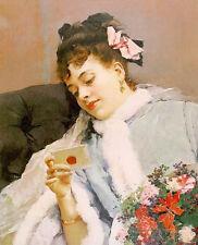 Oil painting Garreta, Raimundo de Madrazo Spanish artist Young lady Hand painted