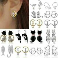 Cute Women Girl 925 Silver Crystal Pearl Cat Animal Ear Stud Earrings Jewelry L7