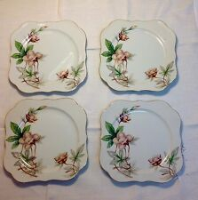 (4) Meito China - WOODROSE'  square 7 3/4 inch SALAD/DESSERT PLATES - Excellent